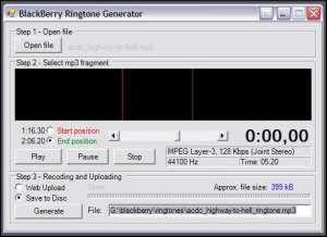 BlackBerry Ringtone Generator - Saved on the Pearl