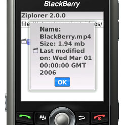 Ziplorer for BlackBerry Wireless Handheld