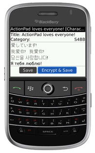 ActionPad for BlackBerry - Unicode Support